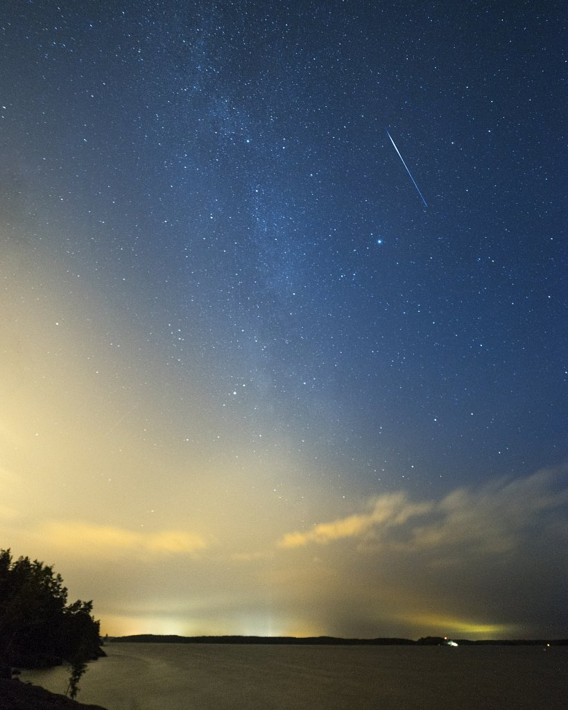 The Milky way and a shooting star
